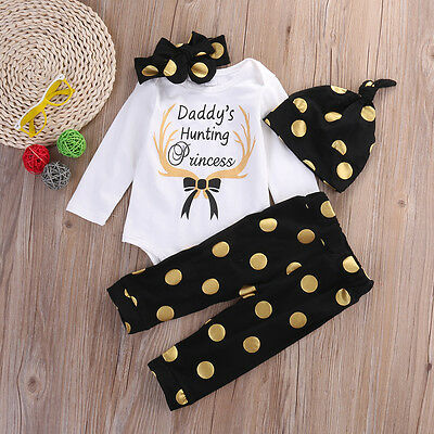 3PCS Baby Boys Girls Tops T-shirt Pants Leggings Hat Striped Outfits Set Clothes