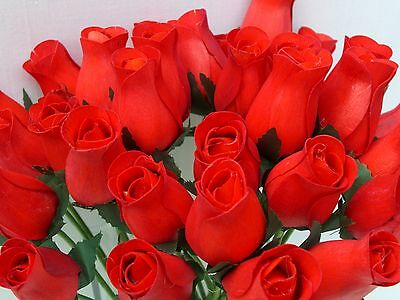 Wholesale Valentines 24 Red Wooden Roses Artificial Flowers Gift Weddings Craft
