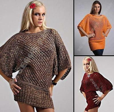 Ladies Womens Knitted Sweater Tunic Loose Baggy Jumper Oversized Top size 10 12