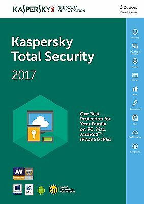 Kaspersky Total Security 2017 3PC 1Year Download / Full Version /Send via Email
