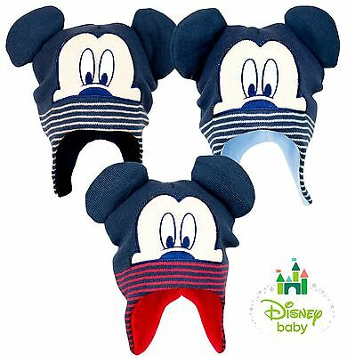 Disney Mickey Mouse BABY Boys Knitted Peruvian Winter Hat 48 50 cm Ear Flaps