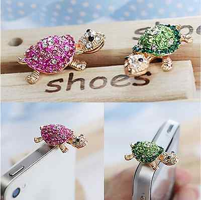 Crystal Animal Turtle Dust Plug Mobile Phone Charm Case Cover Accessories Kawaii