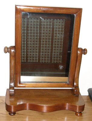 """Antique Adjustable Dressing Mirror on a Mahogany Stand - 18.75"""" High"""
