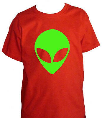 Fm10 T-Shirt Child Alien UFO Print Fluorescent Green Funny Mythical
