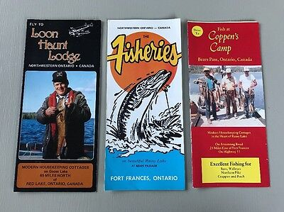 3 Vintage Fishing Brochures Red Lake, Bears Pass & Fort Frances Ontario, Canada