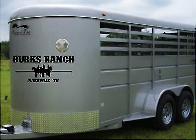 Your Ranch Farm Name & State Horse Trailer Truck Decal Stickers 16x36