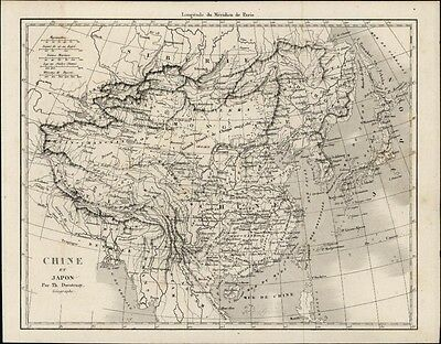 China Japan Korea antique map c.1850 Duvotenay engraved Asia Tibet