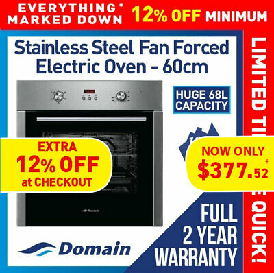 NEW 60cm STAINLESS STEEL FASCIA FAN FORCED ELECTRIC WALL OVEN - CARTON DAMAGED