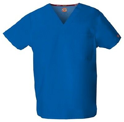 Dickies Scrubs 83706 V Neck Unisex Scrub Top Dickies EDS Royal Blue