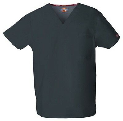 Dickies Scrubs 83706 V Neck Unisex Scrub Top Dickies EDS Pewter