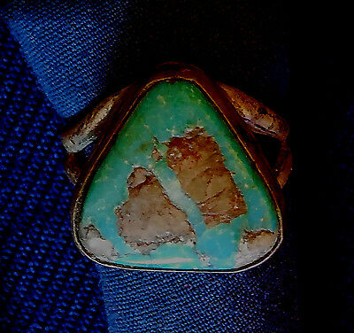 Native American RING Sterling Silver Turquoise w/ Quartz Vintage