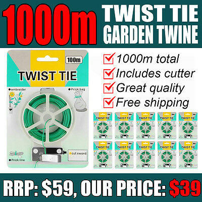 1000m GREEN GARDEN TWINE - twist cable tie plant support wire flexible gardening