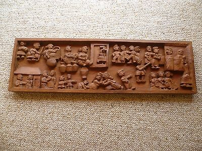 Vintage Old Large Size Timber Cultural Scene Wall Hanging, (B53)