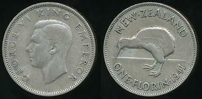New Zealand, 1941 Florin, 2/-, George VI (Silver) - Fine