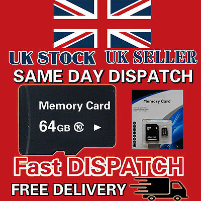 64GB Class 10 Micro SD Memory Card with Retail Package and Free Adapter