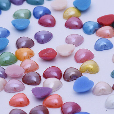 100 Mix color Cabochon Jewelry Supplies  Glass Ceramic Heart Nail art Beads