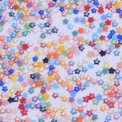 1000 Mix color Cabochon Jewelry Small star Glass Ceramic Nail art Beads 10121399
