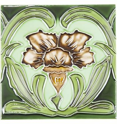 94A Flower Tile, Purple with Green Background