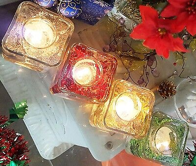 Reusable Christmas Gel Wax Candle Set with Glittering Flowers and Berries