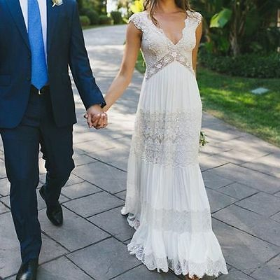 Vintage Lace Beach V-Neck Wedding Dress White ivory Summer Ball Bridal Gown Plus