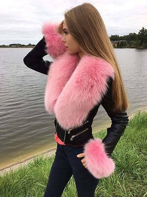 Arctic Pink Fox Fur Collar + Tails As Wristbands. About 39 inches. SAGA FURS BOA