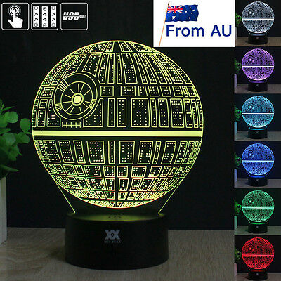 Star Wars Death Star 3D LED Night Light 7 Colour Touch Table Desk Lamp Xmas Gift