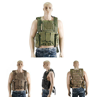Tactical Airsoft Assault Vest Chest Carrier Molle Pouch Military Hunting New