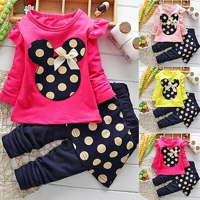 Toddler Kids Baby Girls Minnie Mouse Outfits Clothes T-shirt Tops+Pants 2PCS Set