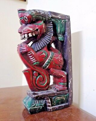 Antique Wooden Bracket Corbel painted corbel War Horse Yalli Dragon Sculpture