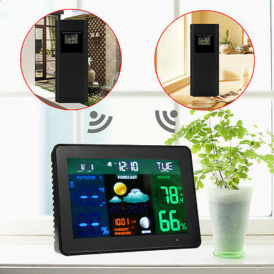 Wireless Color LCD Weather Forecast Station Temperature Humidity Clock 2 Sensors