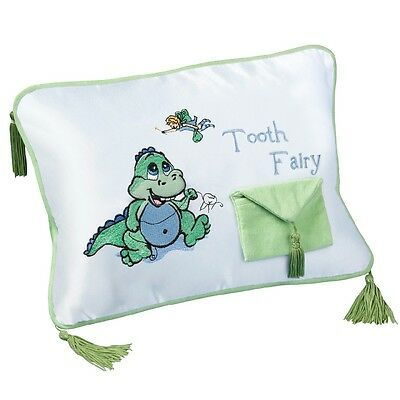 Tooth Fairy Pillow Boys White/Green Dinosaur Cushion Tooth Pocket Keepsake  NEW