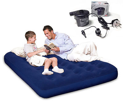 Single / Double Blow Up Inflatable Camping Bed Airbed & Mains Electric Air Pump