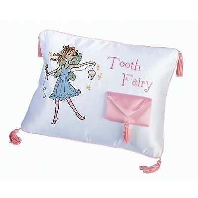Tooth Fairy Pillow Girls White & Pink Cushion with Tooth Pocket Keepsake  NEW