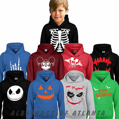 HALLOWEEN SKELETON THE NIGHTMARE Pumpkin horror fancy dress costume KID'S HOODY
