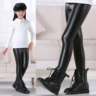 Baby Kids Girls Warm Leather Pants Stretchy Skinny Legging Chaparajos Trousers