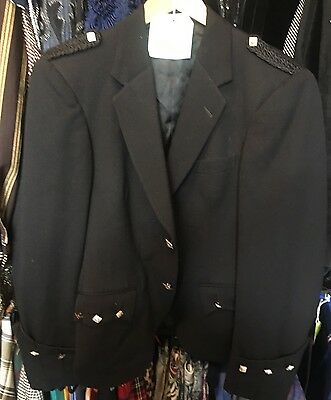 "����Men's Punk Vintage Black Wool Military Jacket 38"" 12 Halloween"