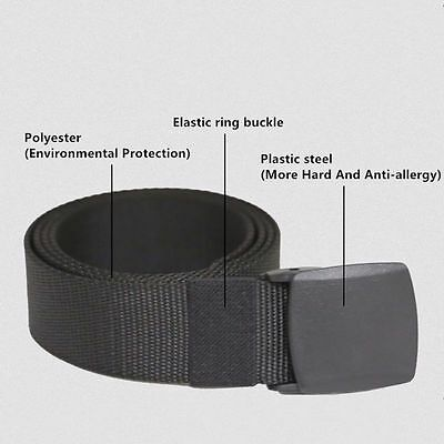 Sports Waistband Webbing Canvas Army Tactical Automatic Buckle Waist Belt Strap
