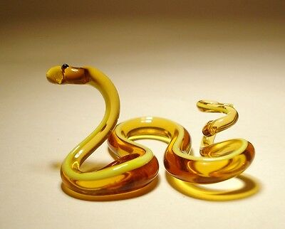 Blown Glass Reptile Figurine Small Brown and Yellow Agitated SNAKE