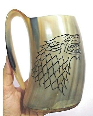 Game of thrones carved wolf Viking Drinking Horn Mug tankard for beer wine mead