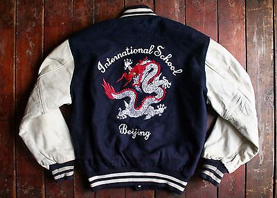 VTG 80s EMPIRE EMBROIDERED DRAGON LEATHER & WOOL VARSITY COLLEGE JACKET LARGE