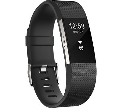 FITBIT Charge 2 Fitness b& Black with OLED touchscreen&Bluetooth Large Size