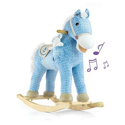 BLUE PONY - Rocking Horse with Sounds & Moving Tail