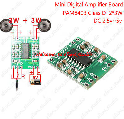 PAM8403 2-Channel 3W Mini Digital Power Audio Class D Amplifier board USB DC 5V