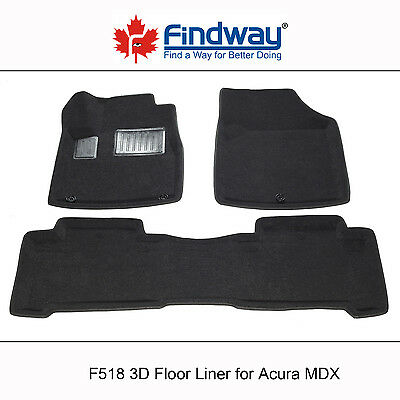 Black all Weather 3D Custom Car Floor Mats / Liners for 2007-2013  Acura MDX