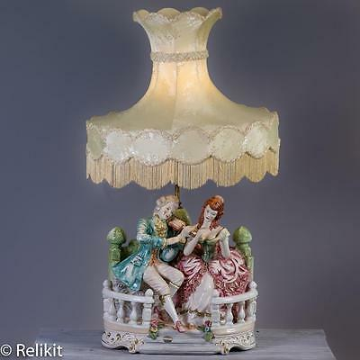 Vintage Capodimonte Porcelain Lamp W/Cream Shade Handpainted Made In Italy