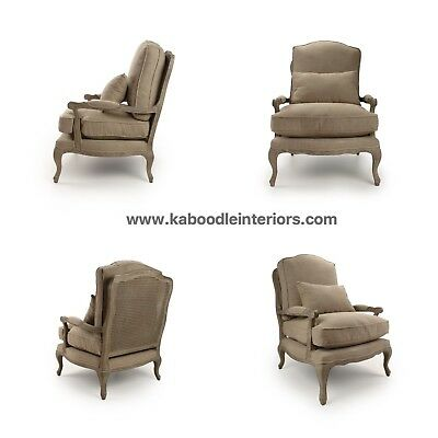 French Chic Limed Oak Opulent Regency Style Grand Armchair in Neutral Linen