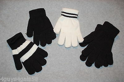 Womens 4 PAIR LOT EVERYDAY STRETCH GLOVES Black Off White Stripe ONE SIZE