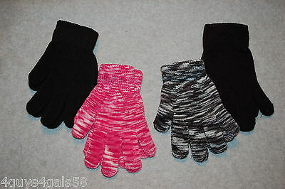Womens 4 PAIR LOT EVERYDAY STRETCH KNIT GLOVES Black Pink White Blend ONE SIZE