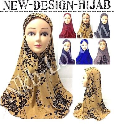 Muslim Ladies Readymade Hijab Headscarf Scarf With Embossing Floral Velvet Print