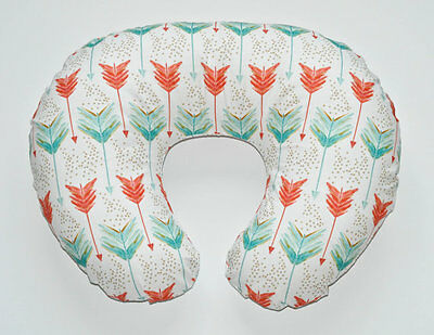 Coral and Teal Watercolor and Coral Minky  Boppy Cover     Nursing Pillow